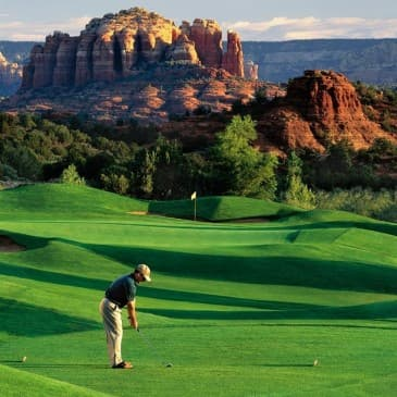 There's no better view than the luscious greens among the red rocks.