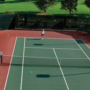 Our lighted tennis courts provide a challenging and enjoyable game, day or night.